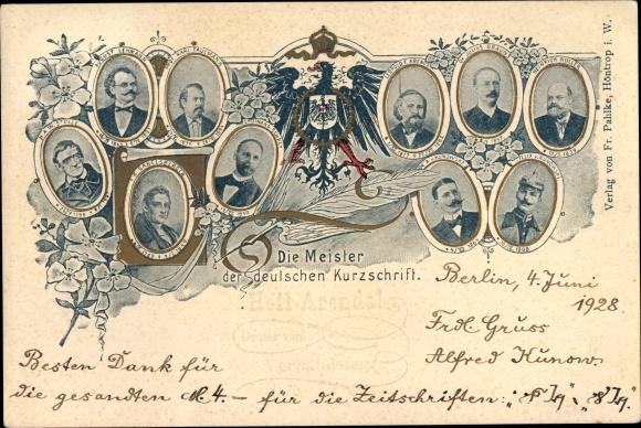Ak Die Meister der deutschen Kurzschrift, Karl Faulmann, Leopold Arends, Julius Brauns