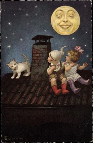 Künstler Ak Colombo, Katze, Liebespaar, Mond