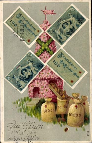 Präge Geldschein Ak Glückwunsch Neujahr, Windmühle, Geldsäcke