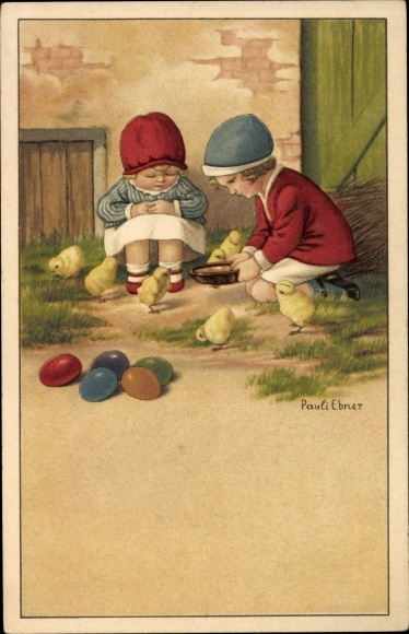 Künstler Litho Ebner, Pauli, Glückwunsch Ostern, Ostereier, Kinder, Küken