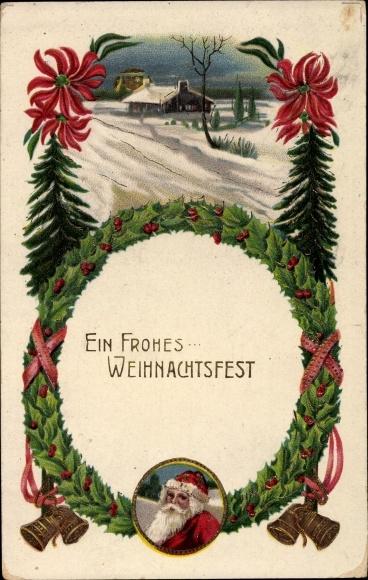 Ak Frohe Weihnachten, Weihnachtsmann, Glocken, Winterlandschaft