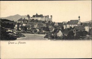 Ak Füssen im Ostallgäu, Teilansicht vom Ort, Lech, Kirche, Hohes Schloss