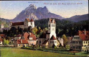 Ak Füssen im Ostallgäu, Teilansicht vom Ort, Hohes Schloss, protest. Kirche, Säuling, Purger 14187