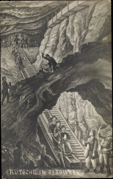 Künstler Ak Berchtesgaden in Oberbayern, Rutsche im Bergwerk
