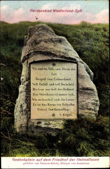 Ak Westerland auf Sylt, Gedenkstein auf dem Friedhof der Heimatlosen