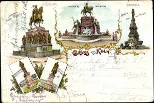 Litho Köln am Rhein, Denkmal Friedrich Wilhelm III, Kaiser Wilhelm I, Bismarck Denkmal