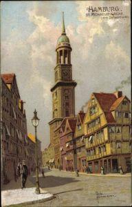Künstler Ak Kämmerer, Rob., Hamburg, Straßenpartie, Michaeliskirche, Blick vom Schaarmarkt