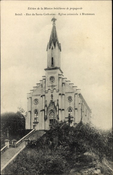 Ak Blumenau Brasilien, Etat de Santa Catharina, Église coloniale