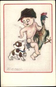 Künstler Ak Mauzan, Engel mit Hahn und Hund