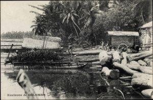 Ak Colombo Ceylon Sri Lanka, Environs, pirogues