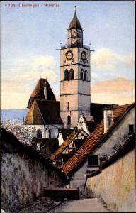 Ak Überlingen am Bodensee Baden Württemberg, Teilansicht mit Kirchturm