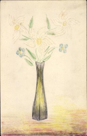Handgemalt Ak Blumen in einer Blumenvase