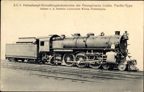Ak US Amerikanische Eisenbahn, Schnellzugslokomotive Pennsylvania Line, Pacific Type, Tender 8661