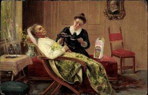 Litho Dr. Hommel's Haematogen, Reklame, kranker alter Mann, Frau, Medizin