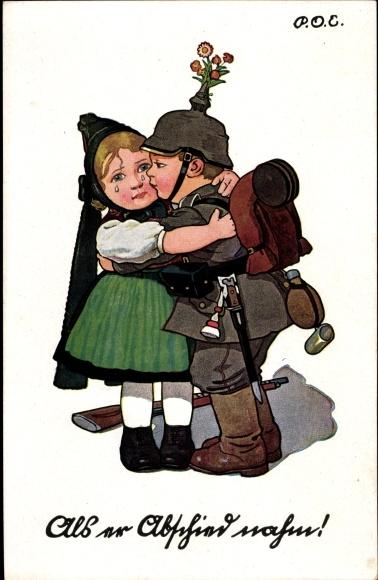 Künstler Ak Engelhard, P.O.E., Als er Abschied nahm, Soldat küsst Frau zum Abschied