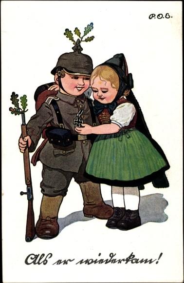 Künstler Ak Engelhard, P.O.E., Als er wiederkam, Soldat, EK, Schwälmerin