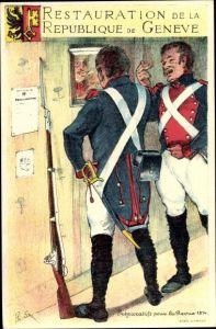 Künstler Ak Restauration de la République de Geneve, Préparatifs pour la Revue 1814