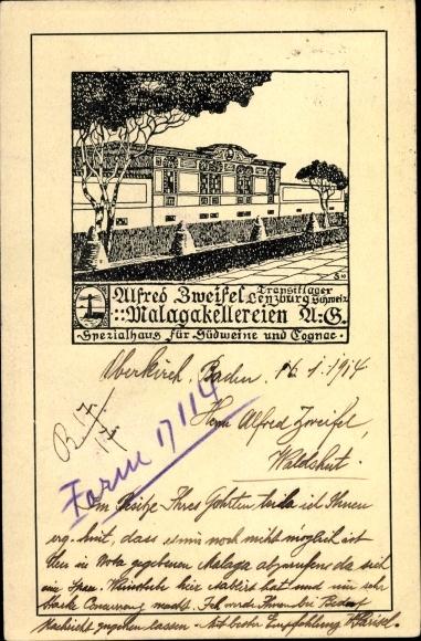 Künstler Ak Lenzburg Kt. Aargau Schweiz, Malagakellereien AG, Südweine und Cognac 0