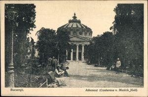 Ak București Bukarest Rumänien, Atheneul, Konferenz- u. Musikhalle, Außenansicht, Parkbänke