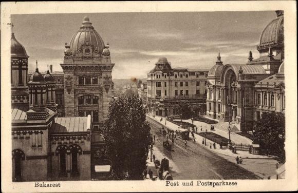 Ak București Bukarest Rumänien, Post, Postsparkasse, Fußgänger, Straßenbahn