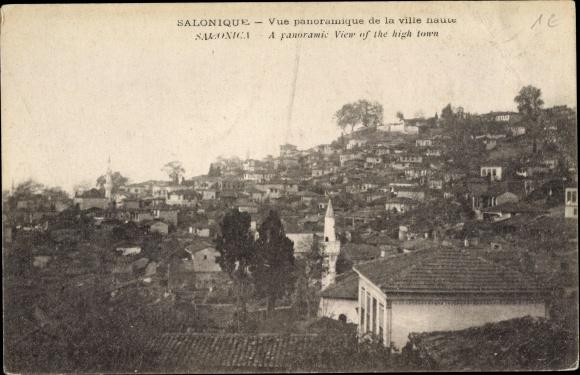 Ak Thessaloniki Griechenland, Vue panoramique de la ville haute
