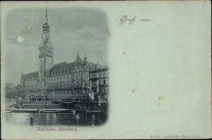Mondschein Ak Hamburg Mitte Altstadt, Rathaus, Außenansicht, kleine Alster, Fußgänger