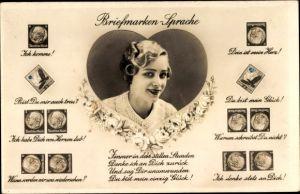 Briefmarken Ak Briefmarkensprache, Portrait einer Frau, Herz, Amag 67365 4