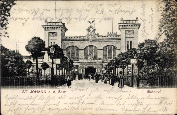 Ak Saarbrücken im Saarland, Bahnhof