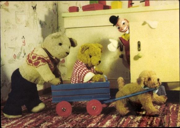 Ak Teddybären, Spielzeug, Holzwagen, Plüschtiere