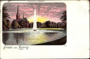 Litho Leipzig in Sachsen, Johannapark m. Lutherkirche