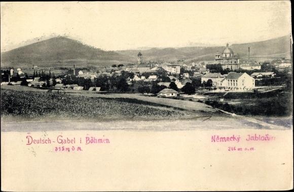 Ak Jablonné v Podještědí Deutsch Gabel Reg. Reichenberg, Panorama vom Ort