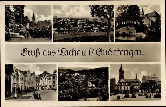 Ak Tachov Tachau Reg. Pilsen, Stadtansichten, Brücke, Kirche