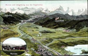 Landkarten Ak Felle, Eugen, Murnau am Staffelsee in Oberbayern, Ohlstadt, Krottenkopf, Ettaler Mandl