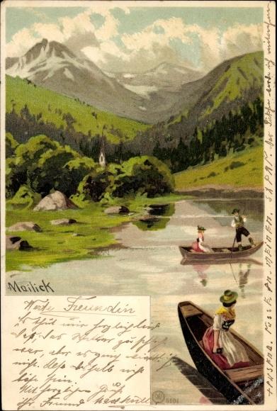 Künstler Litho Mailick, Ruderboote, Gebirge