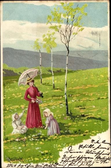Künstler Litho Mailick, Frau mit Kindern auf einer Wiese