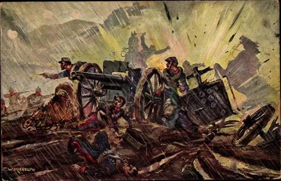 Künstler Ak Kiesslich, F. W., Vernichtung französischer Batterien in den Hochvogesen, I. WK
