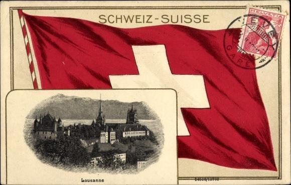 Präge Passepartout Ak Lausanne Kt. Waadt Schweiz, Fahne, Ortschaft