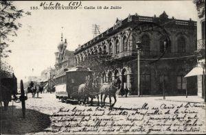 Ak Montevideo Uruguay, Calle 18 de Julio, Pferdebahn