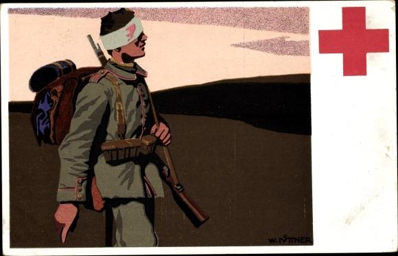 Künstler Ak Nüttner, W., Rotes Kreuz München, Verwundeter Soldat, Kopfverband, I. WK