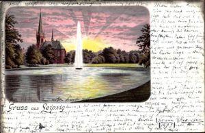 Litho Leipzig in Sachsen, Johannapark mit Lutherkirche, Sonnenaufgang