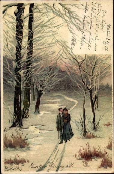 Künstler Litho Mailick, Spaziergang im Winter, Paar