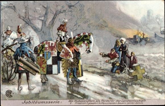 Künstler Ak Hohenzollern als Förderer der Landwirtschaft, Friedrich I., Bauern, Thomasmehl