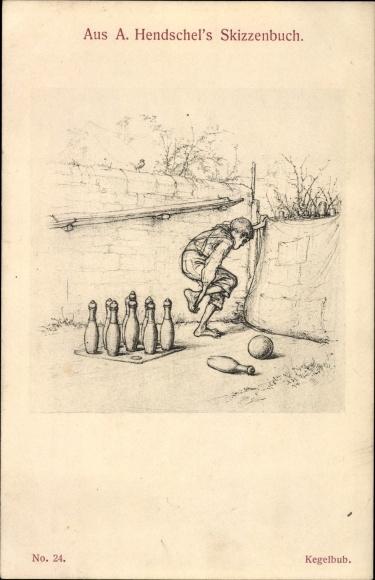 Künstler Ak Hendschel, Albert, Kegelbub, Hendschels Skizzenbuch Nr. 24