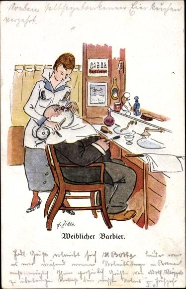 Künstler Ak Zille, Heinrich, Weiblicher Barbier