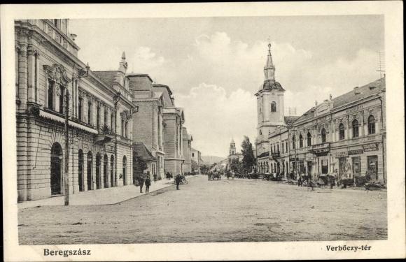 Ak Beregszasz Berehowe Ukraine, Verböczy ter, Platz, Kirchturm