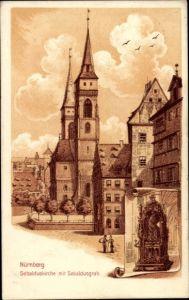Ak Nürnberg in Mittelfranken Bayern, Sebalduskirche mit Sebaldusgrab