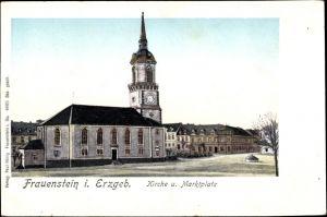 Leuchtfenster Ak Frauenstein im Erzgebirge, Kirche u. Marktplatz