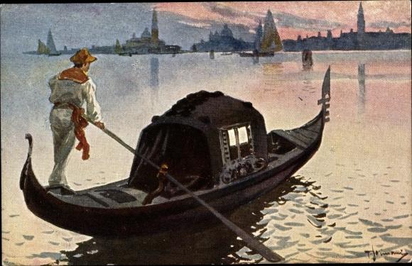 Künstler Ak Venezia Venedig Veneto, Una Gondola, Gondel, Gondoliere