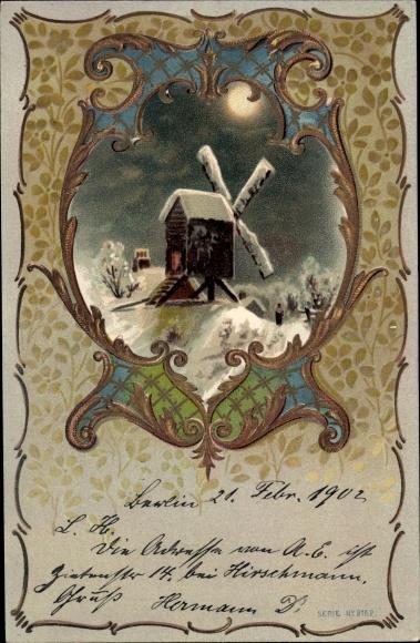 Präge Ak Windmühle in einer Winternacht, Mond