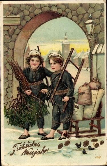 Präge Ak Glückwunsch Neujahr, Schornsteinfeger, Schlitten mit Geldsäcken